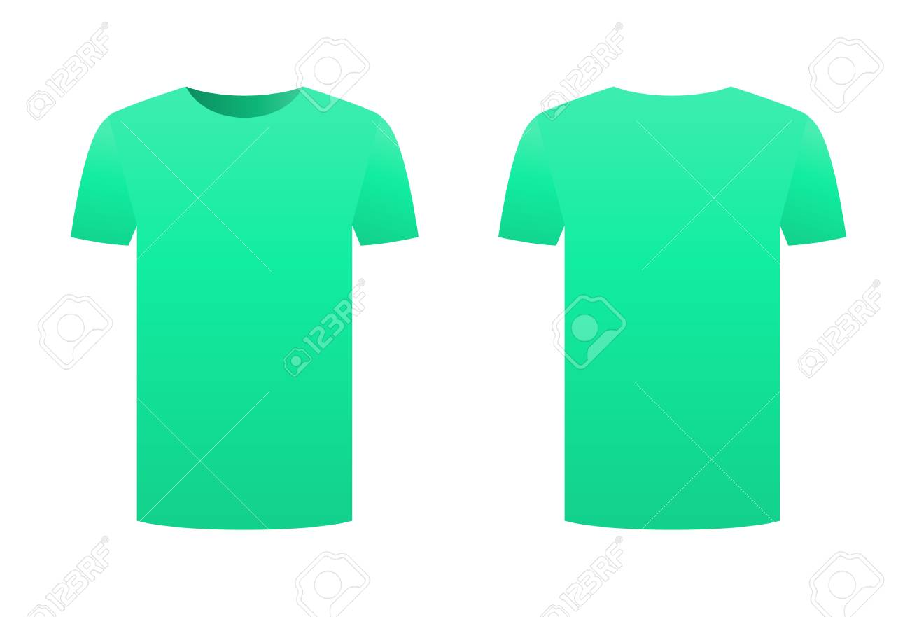 Teal T Shirt Template Shirt Isolated On White Background Front