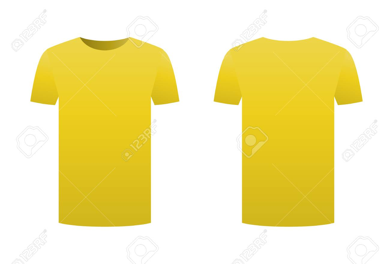 Yellow T-shirt Template Shirt Isolated On White Background Front ...