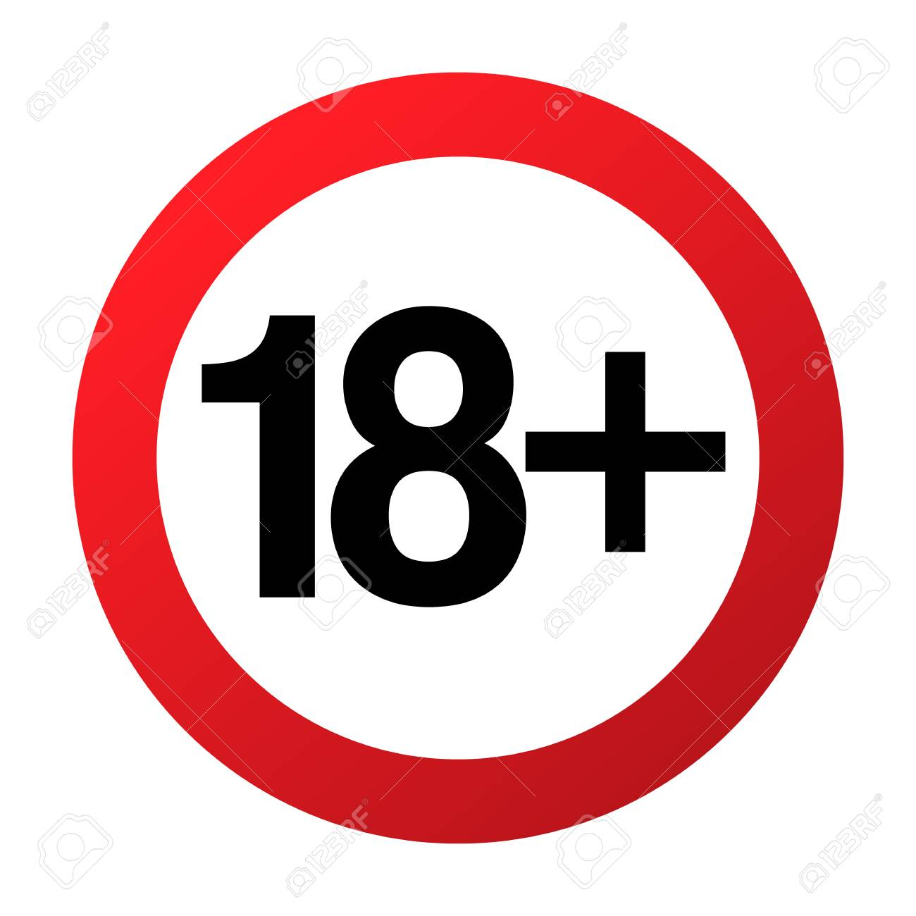 Under eighteen years prohibition sign, adults only, vector illustration. Not allowed for teenagers or people before 18 years old. Parental control. Circle red sign with numbers crossed - 88694453