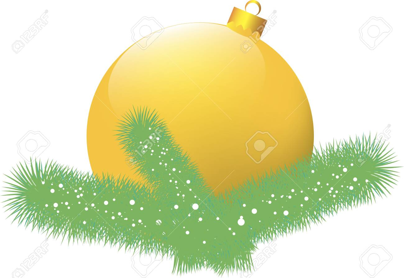 Christmas card with yellow ball Stock Vector - 16957739