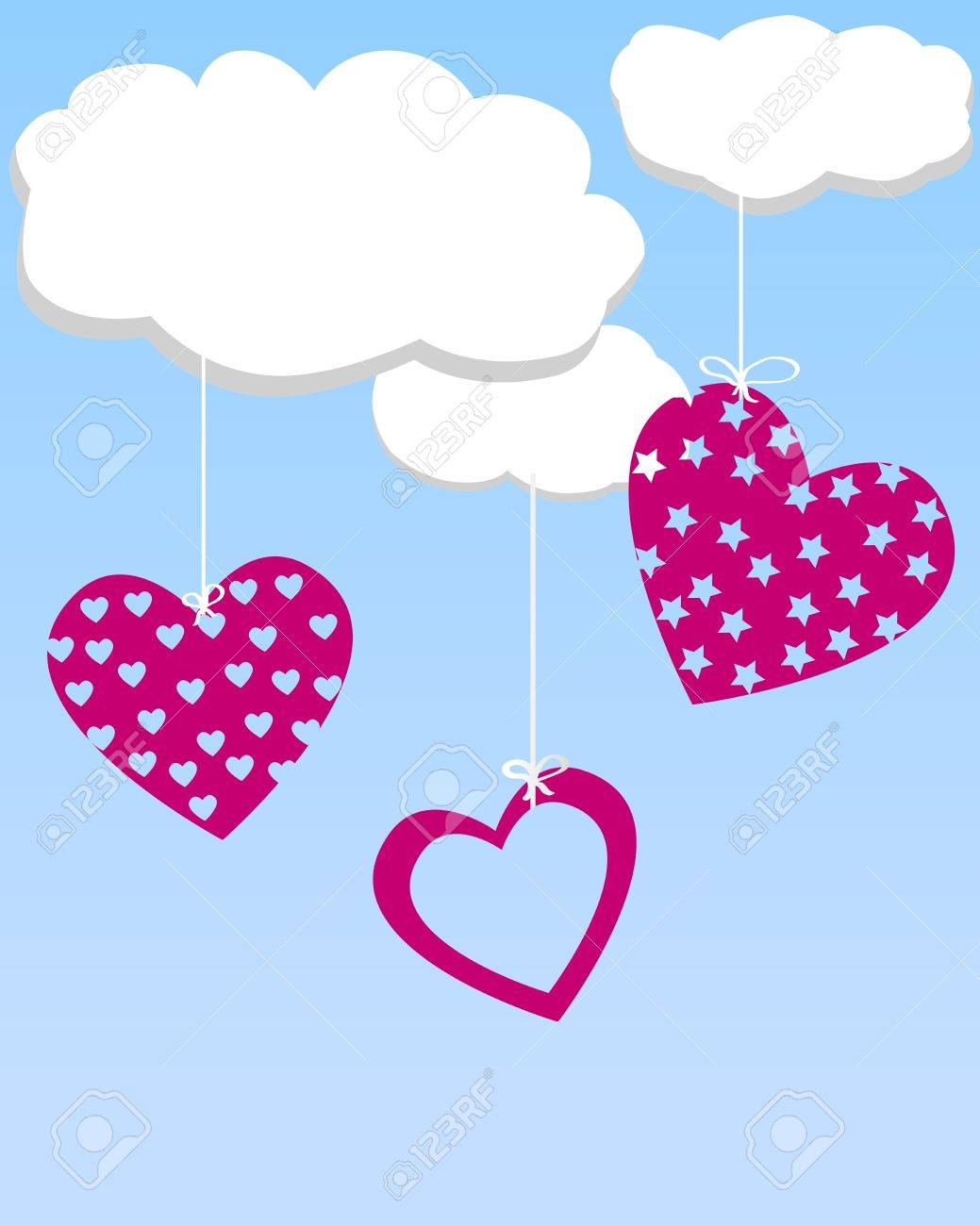 Hearts hanging from the clouds Stock Vector - 17299097