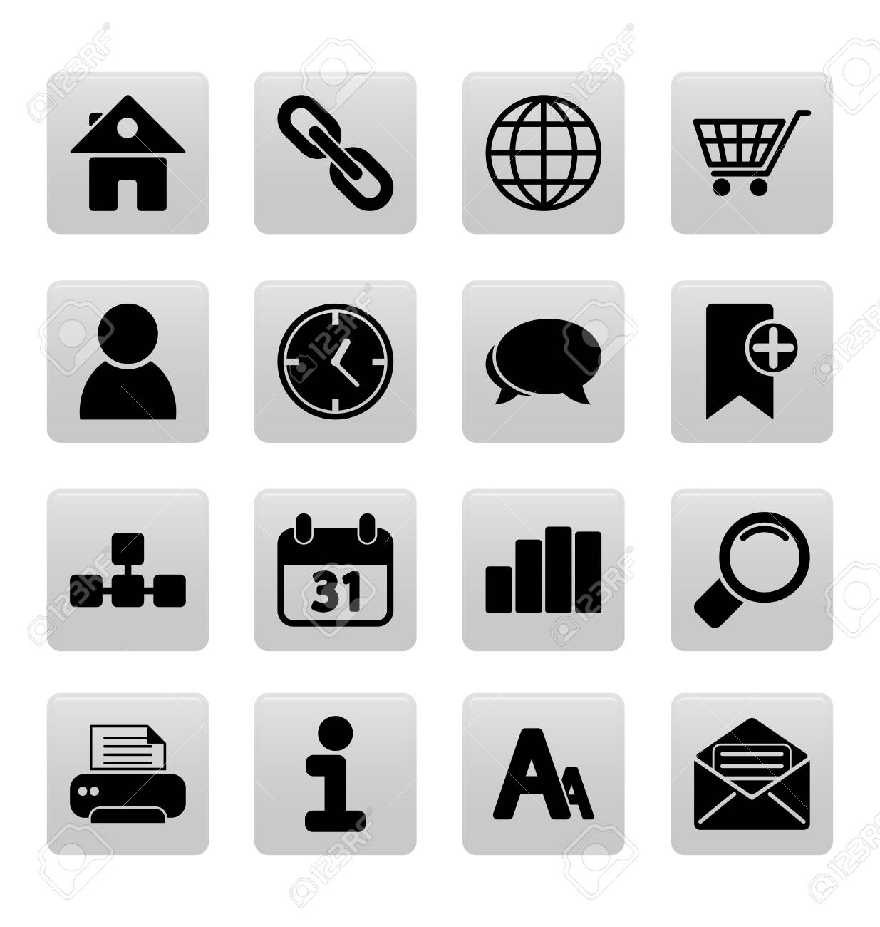 Black web site and internet icons on gray squares Stock Vector - 19478640