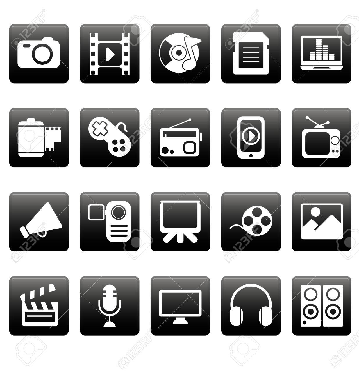 White media icons on black squares Stock Vector - 19478648
