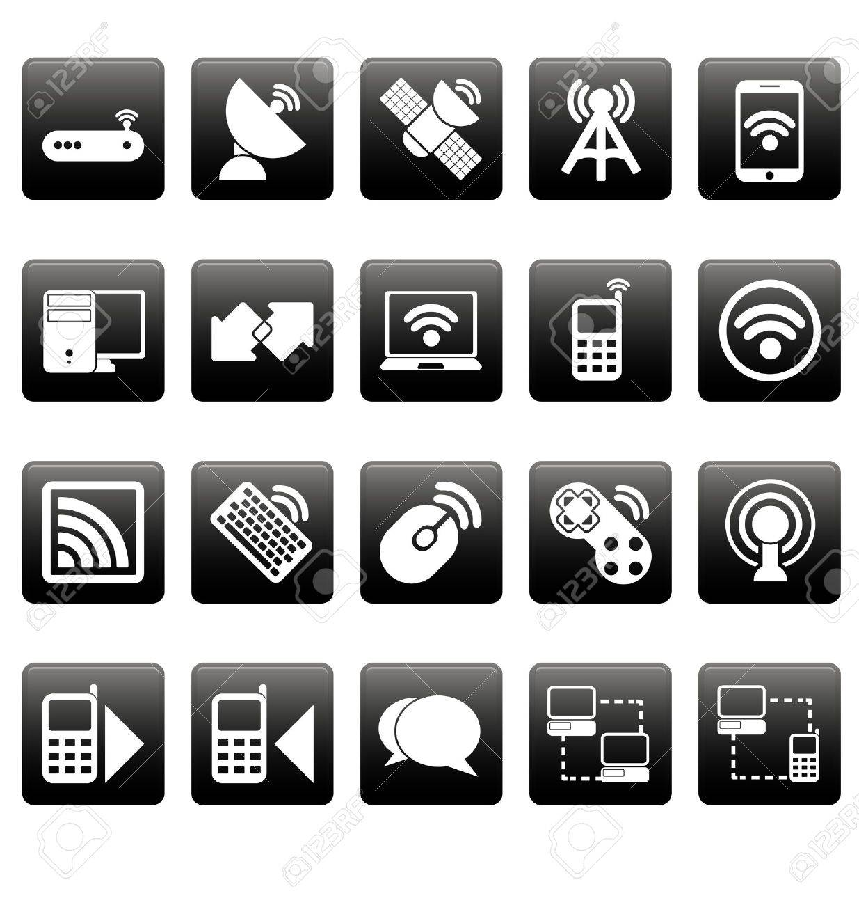 White wireless icons on black squares Stock Vector - 19478679