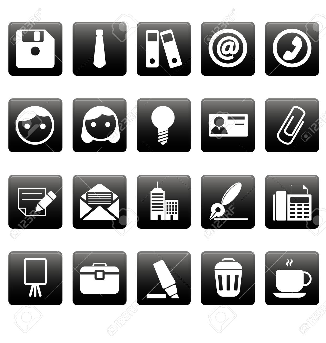 Office icons on black squares Stock Vector - 19478677