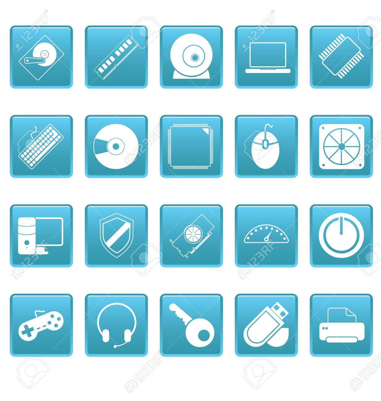 Computer icons on blue squares Stock Vector - 19478724