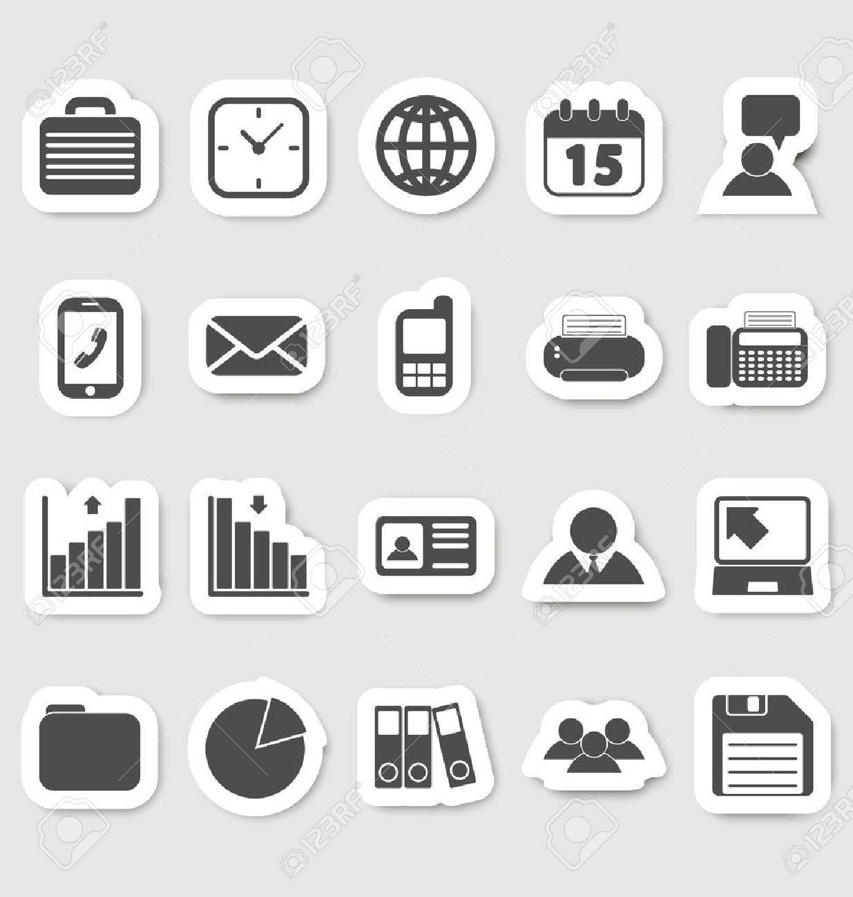 Business and office icons, stikers Stock Vector - 19796198