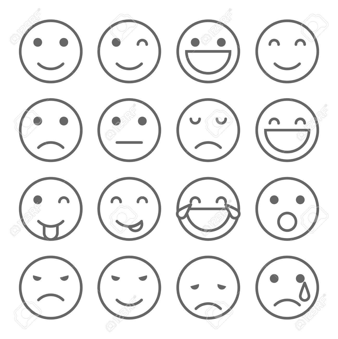 Emoji faces simple icons  Set of emoticons illustrations