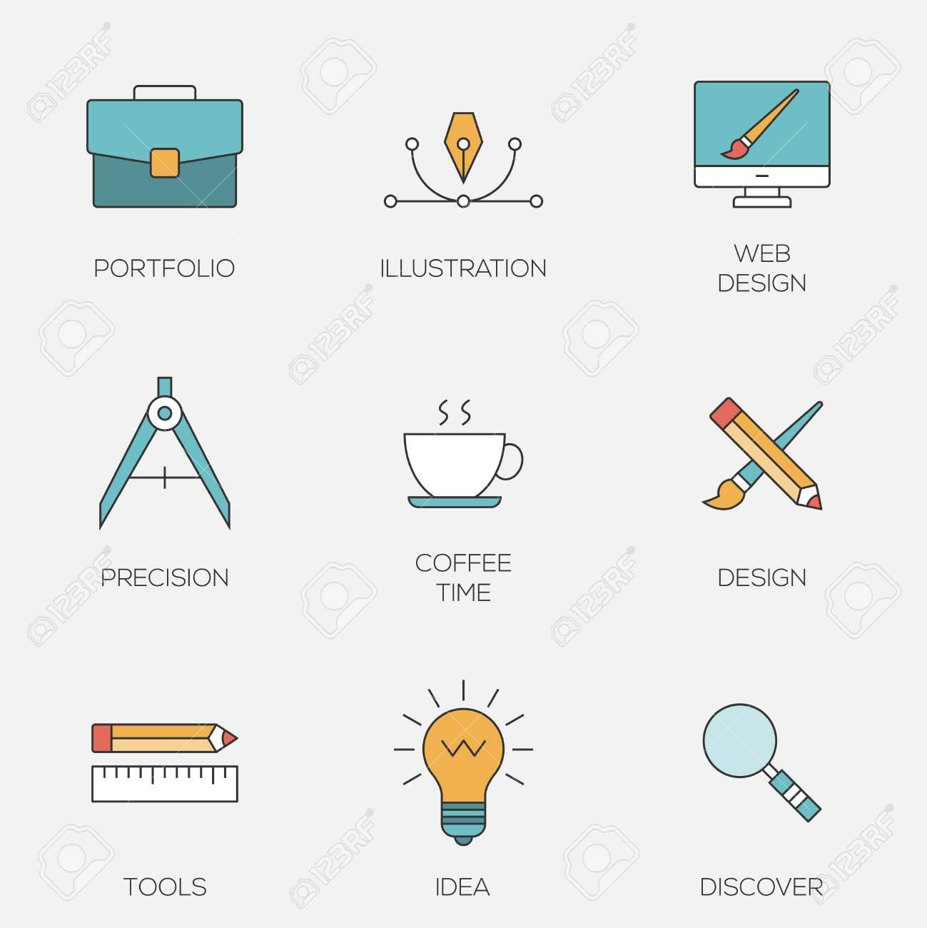 Creative design color line icons  Web development tools