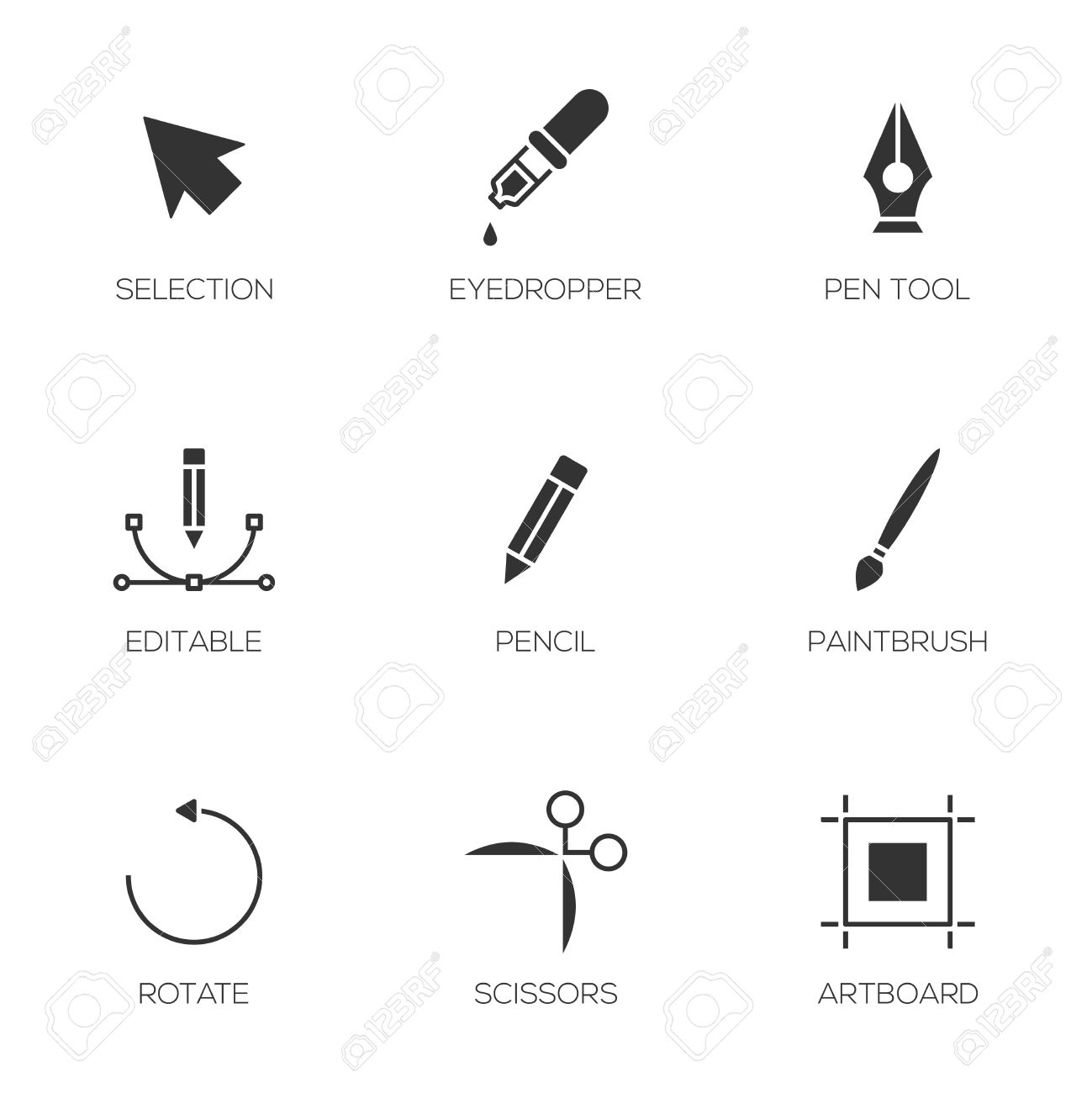 graphic designer tools icons vector illustrator tools royalty free