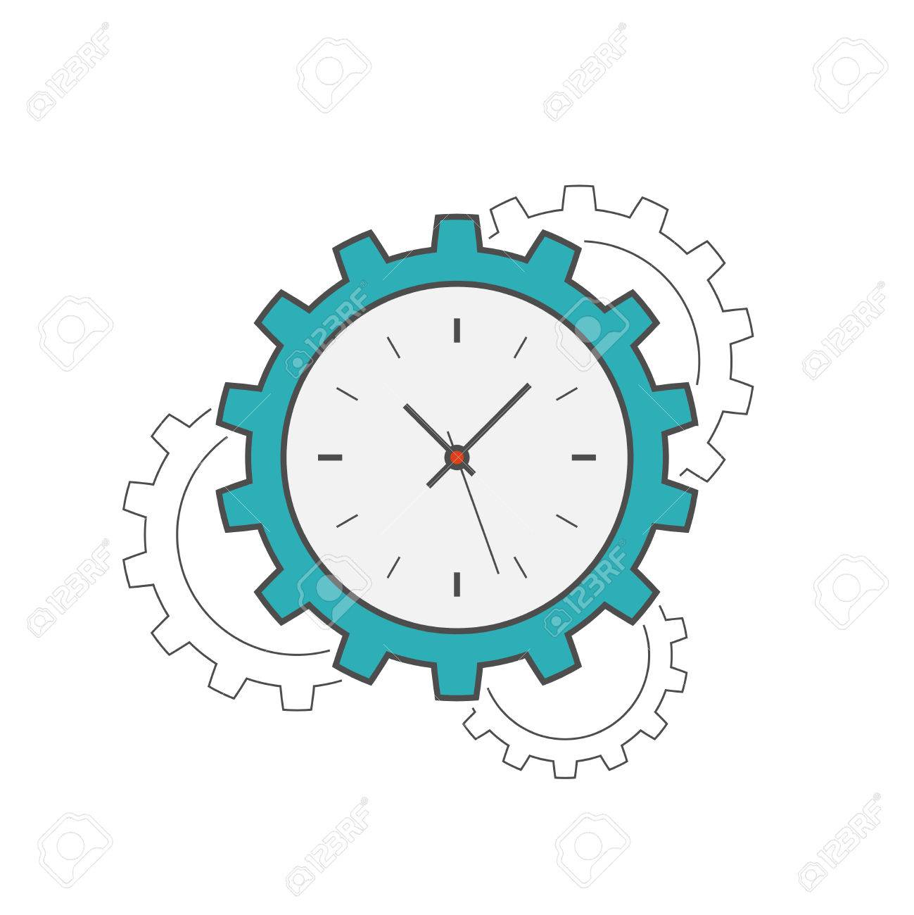 clock gear flat line icon time management concept royalty free rh 123rf com time management clipart images bad time management clipart