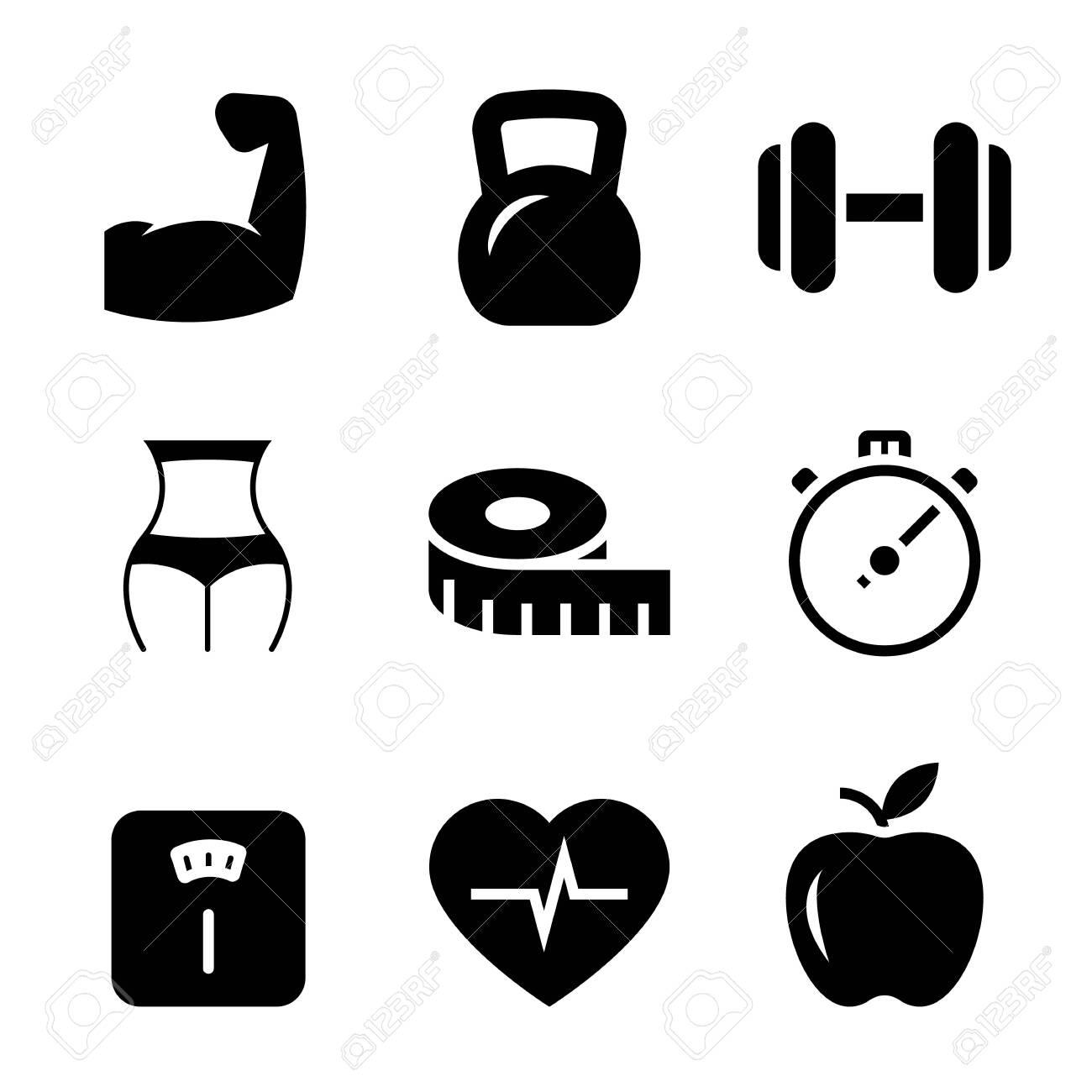 Fitness black icons on white background. Vector illustration - 137259163