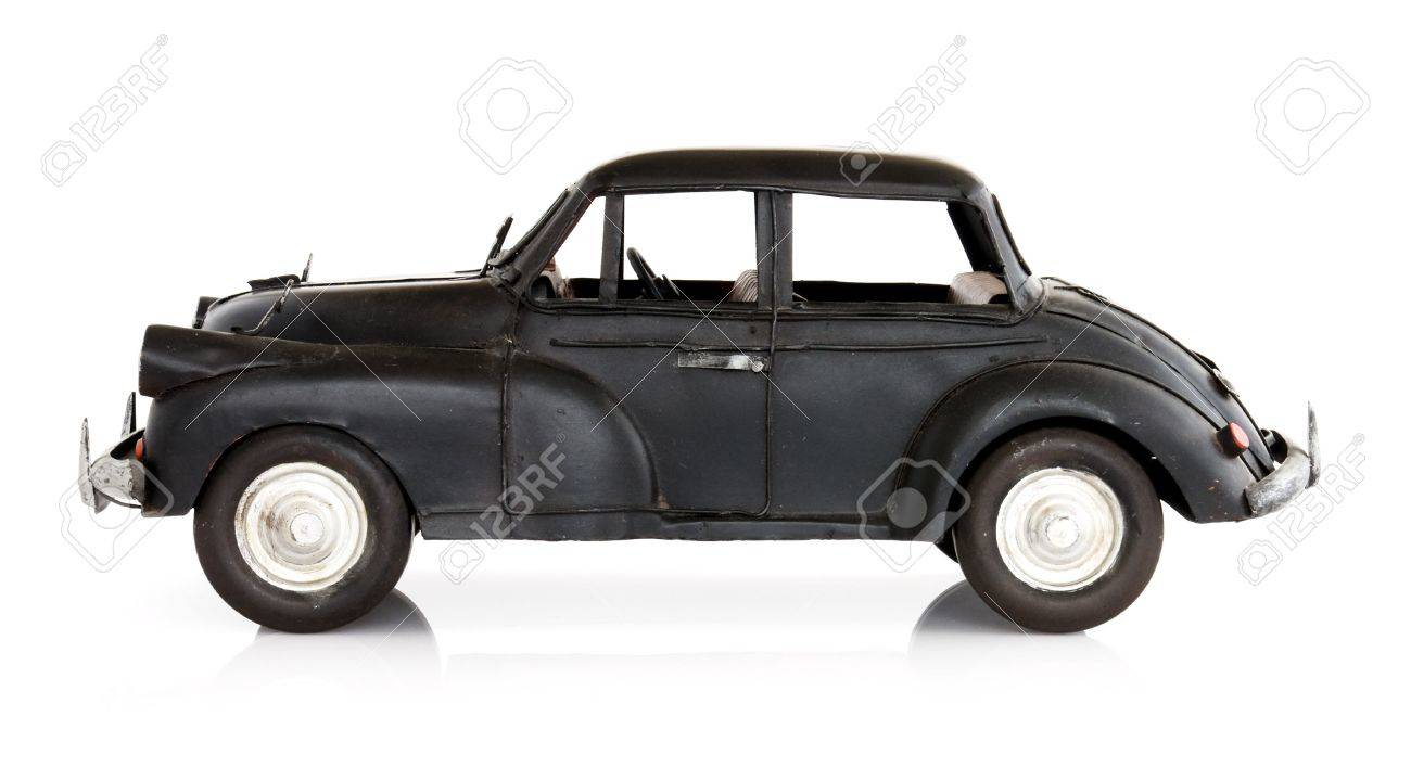 Classic English Style Toy Car Isolated On White Side View Stock