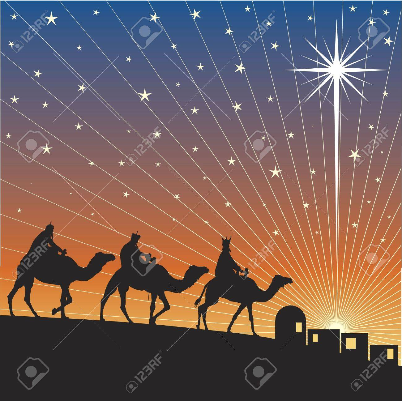 Classic three magic scene and shining star of Bethlehem. Stock Vector - 8045246