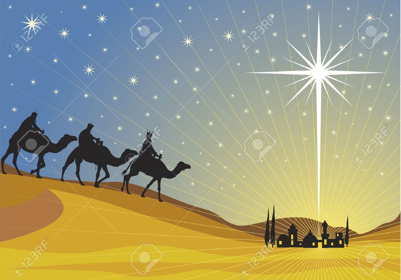 Classic three magic scene and shining star of Bethlehem. Stock Vector - 8045224