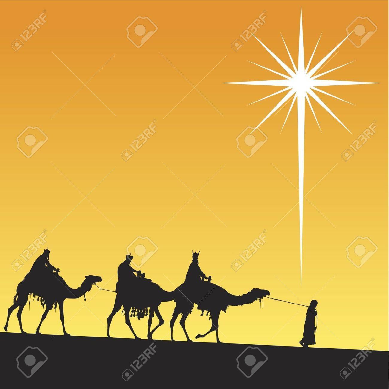Classic three magic scene and shining star of Bethlehem. Stock Vector - 8045227