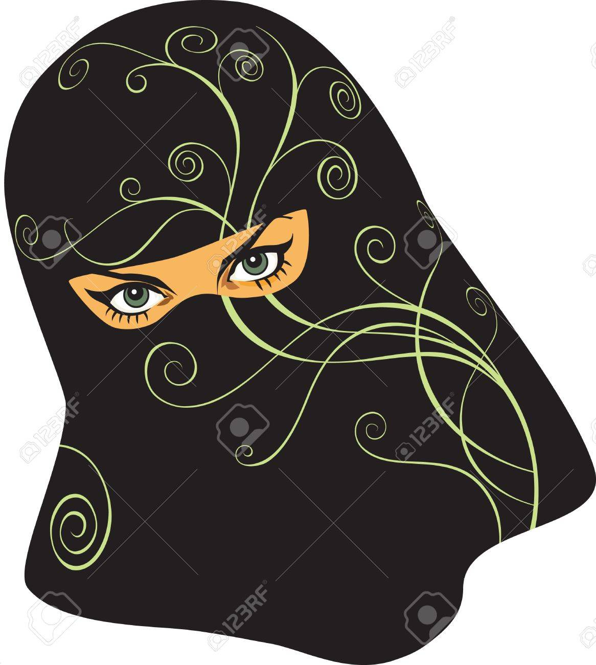 Arabian woman in a yashmak Stock Vector - 8045317