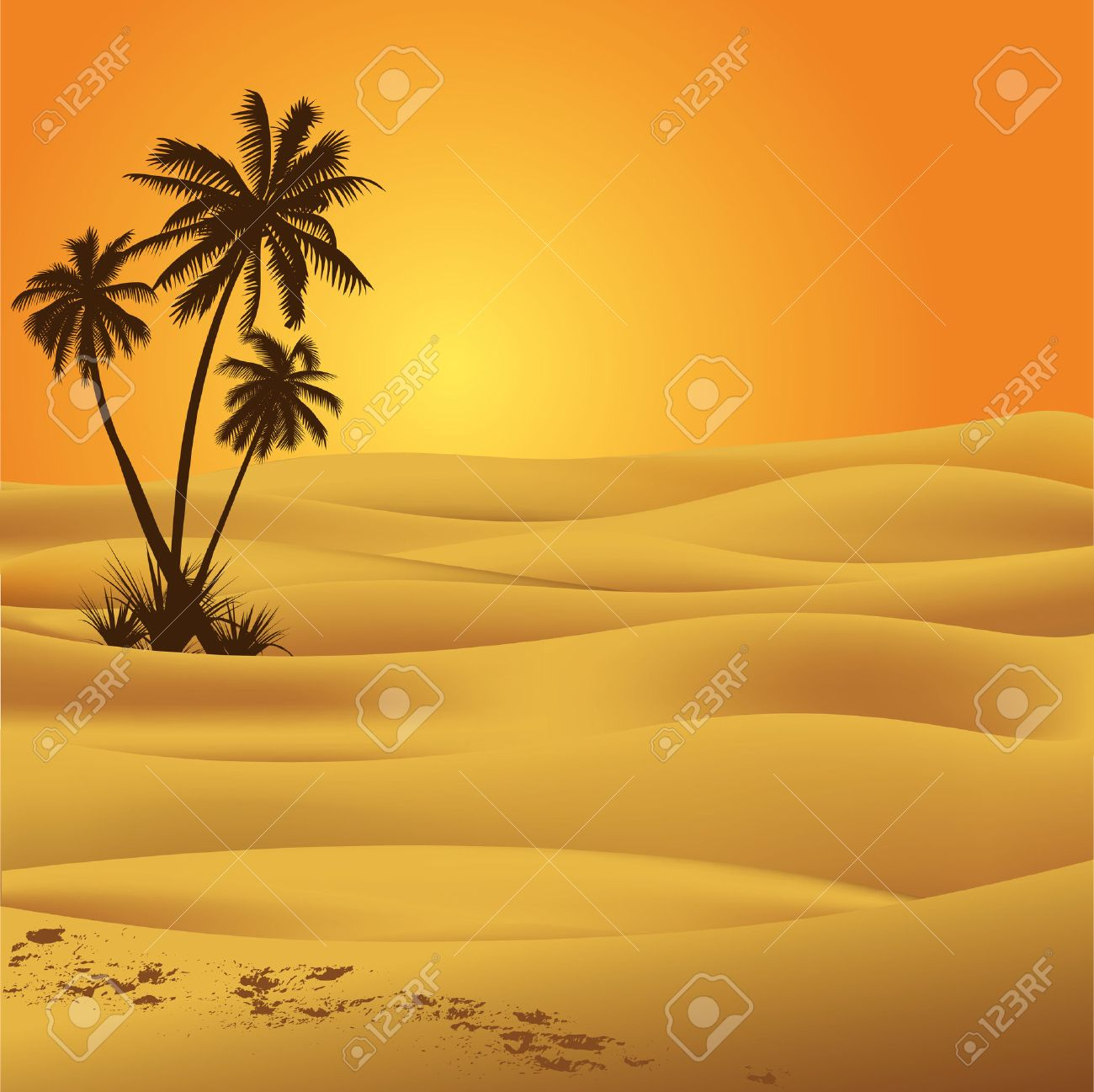 Sahara desert illustration - 8198554