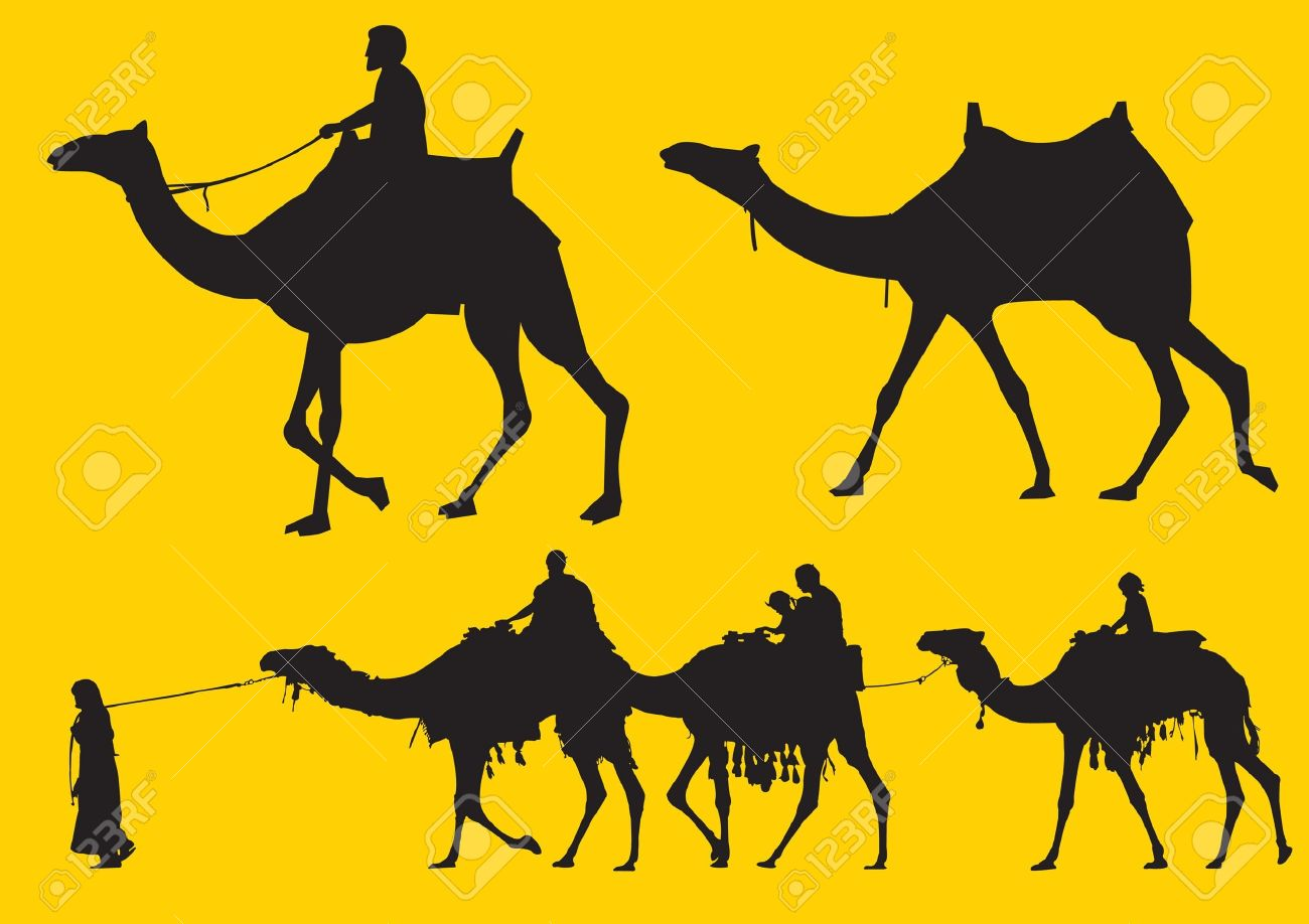 Men riding and pulling camels silhouette Stock Vector - 9755689