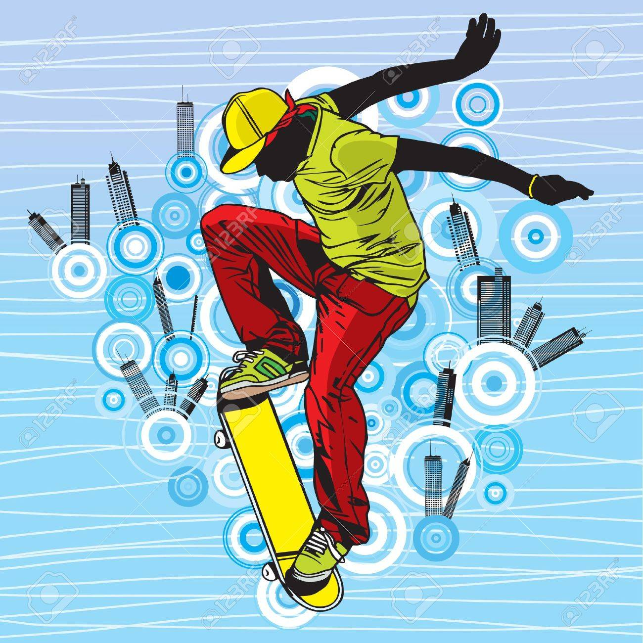 A teenager playing skateboard on street Stock Vector - 15397316