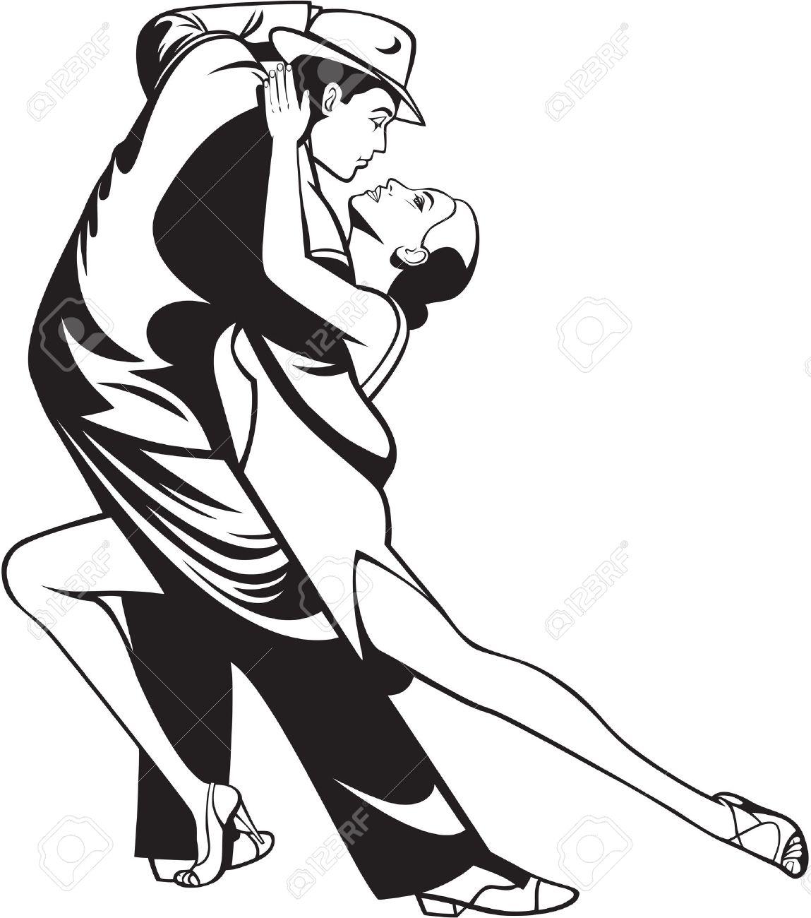 Danza Par En La Pasión Del Tango Ilustración Blanco Negro