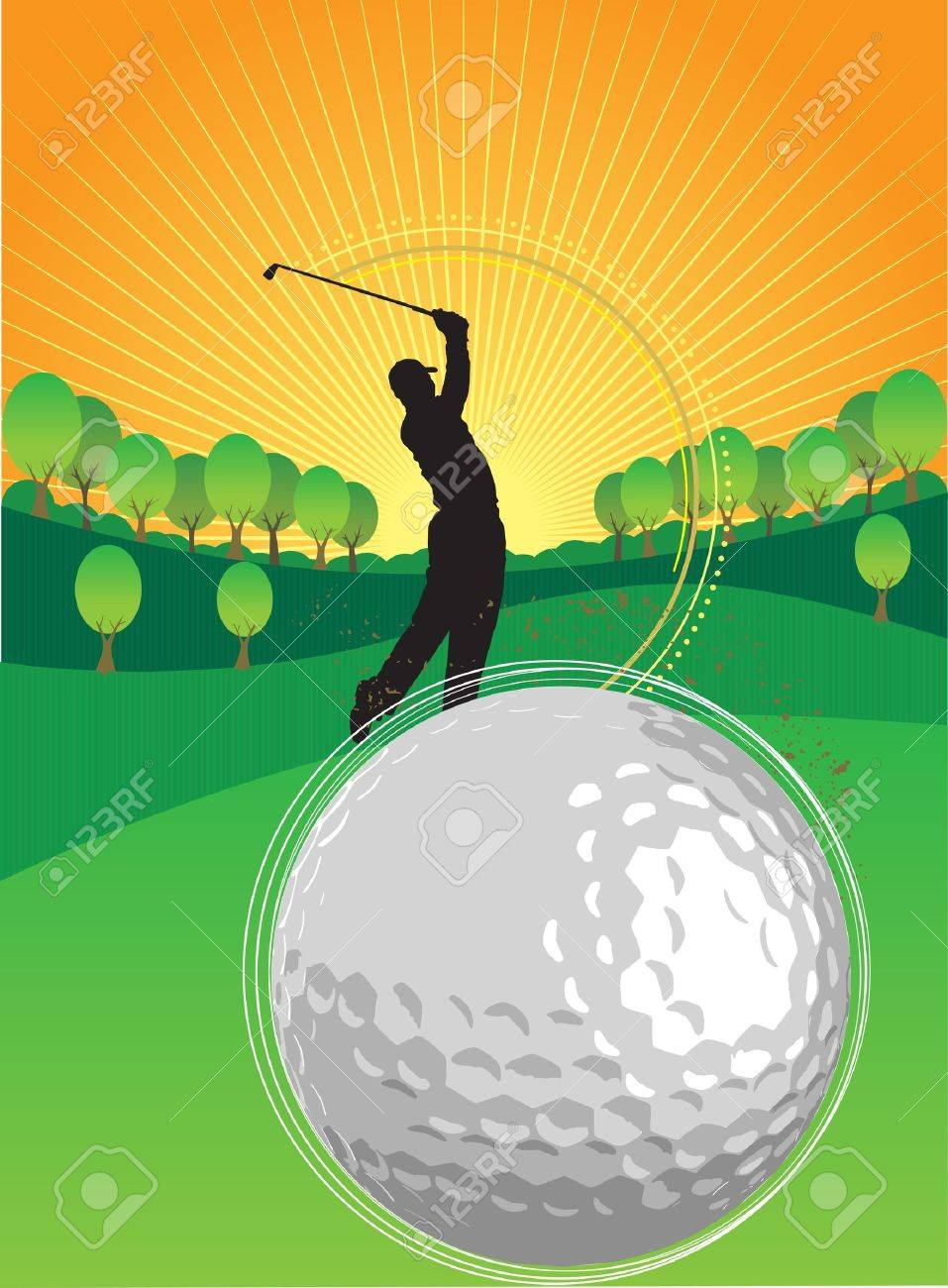 A person is playing golf in the sunset Stock Vector - 15645983