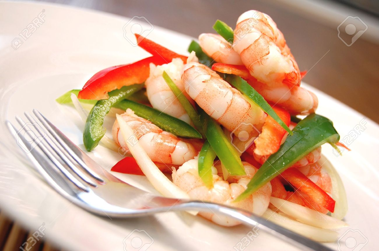 Succulent prawn salad Stock Photo - 4456979