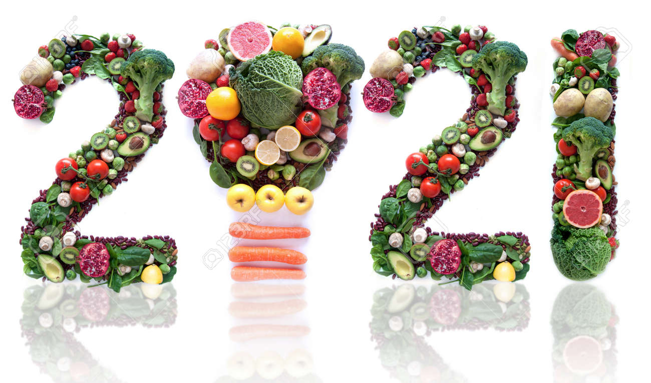 2021 made of fruits and vegetables including a light bulb icon - 160747638