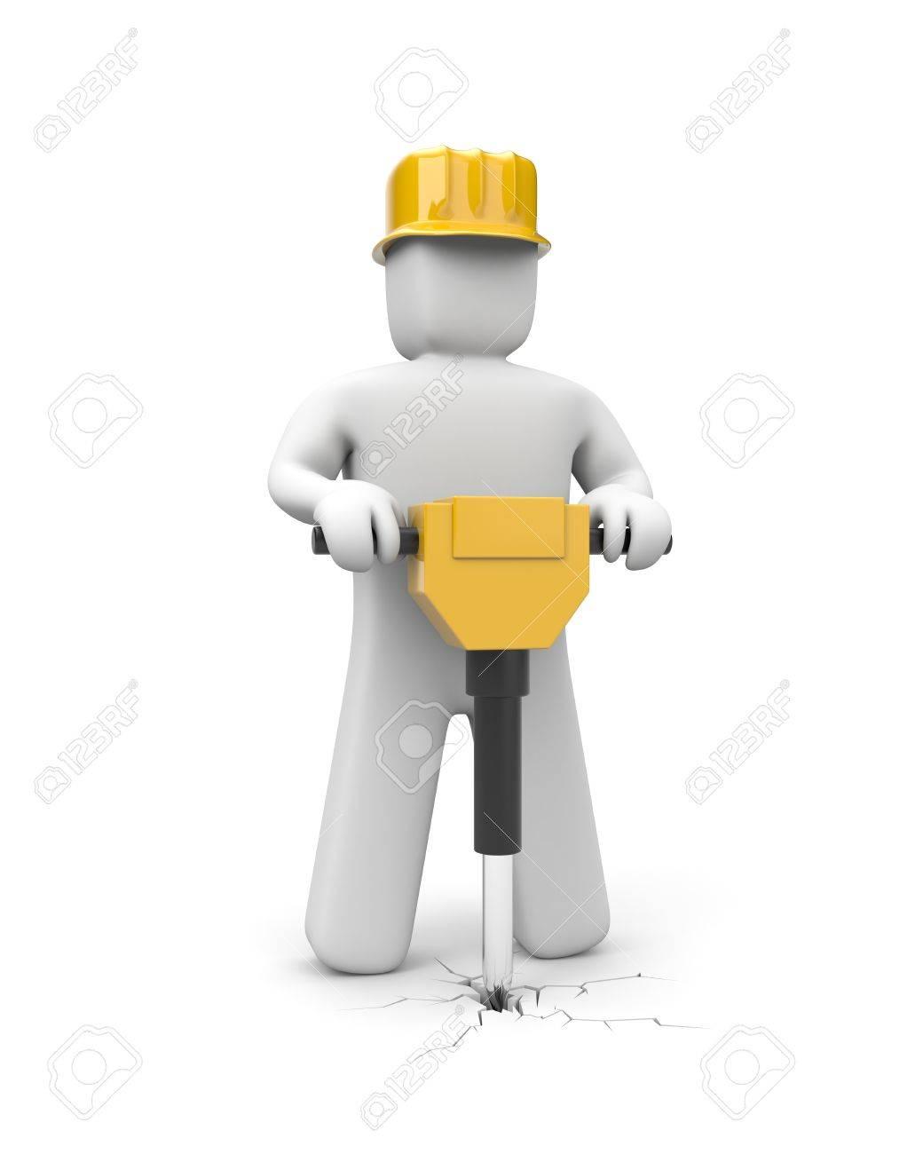 Worker using  jackhammer. Manual worker. Isolated on white Stock Photo - 9348211