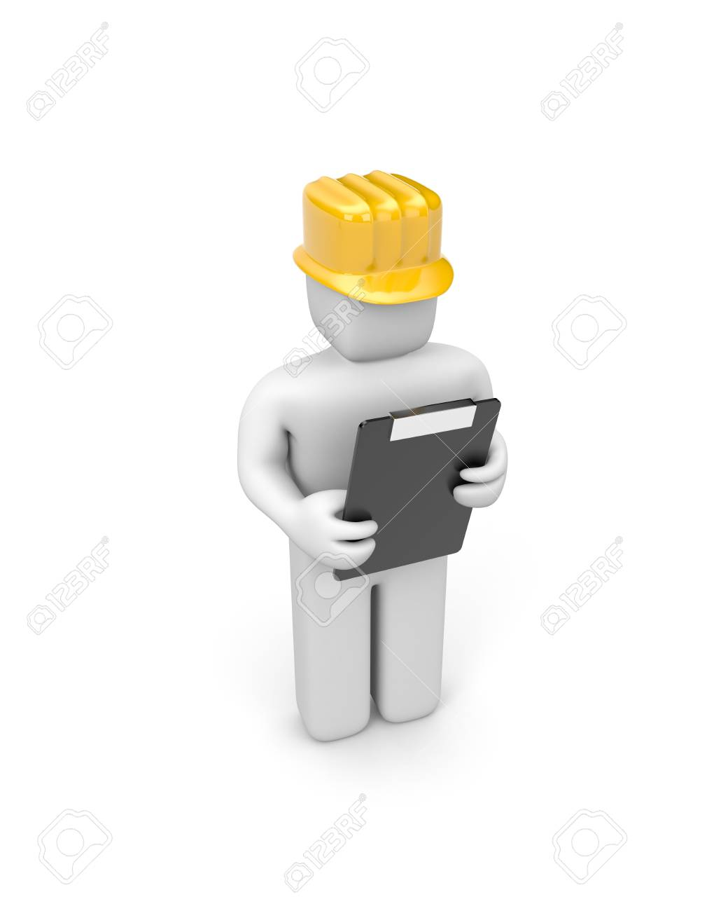 The person which leads interrogation, Service worker etc. Manual worker. Isolated on white Stock Photo - 9877979