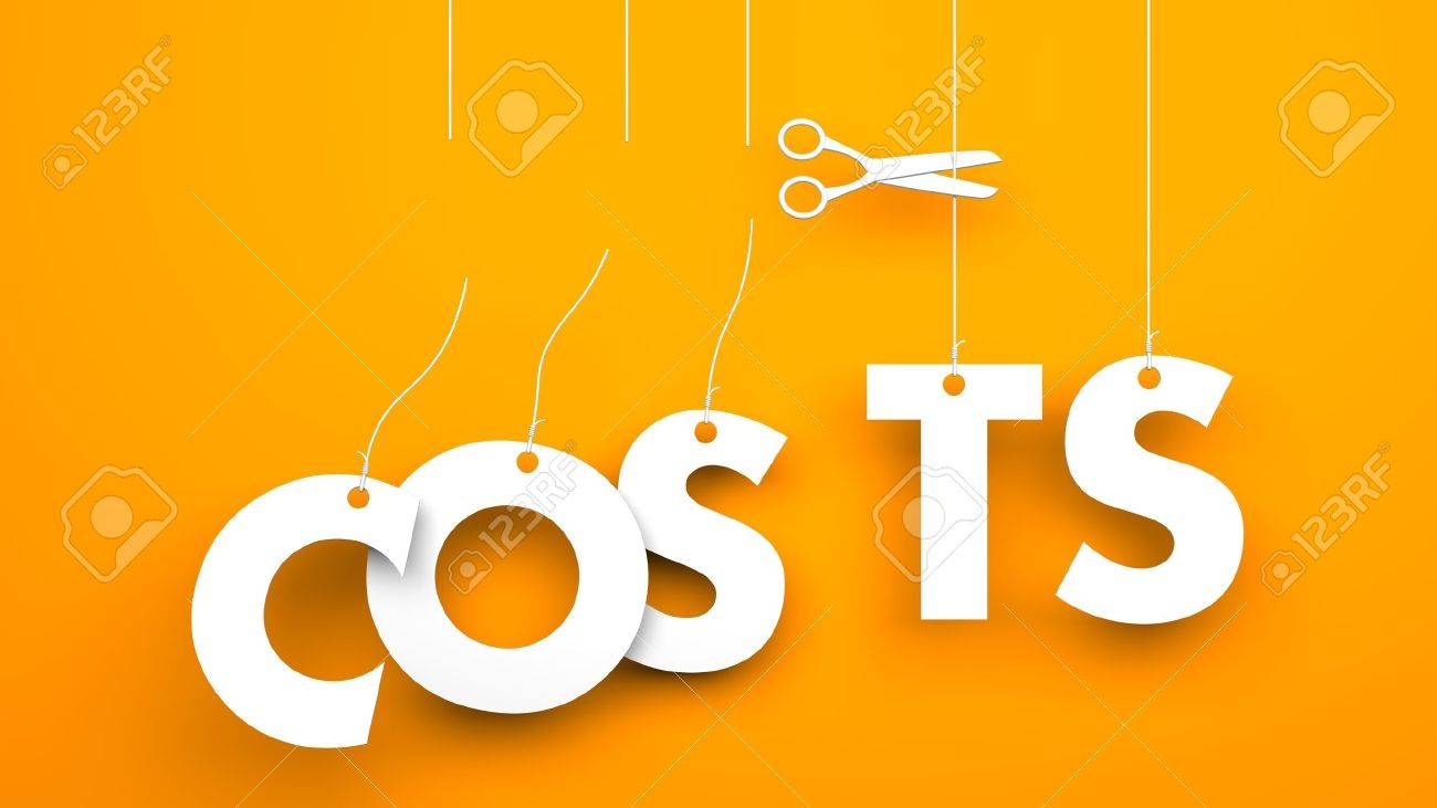 Scissors cuts word COSTS. Conceptual business image - 37967945