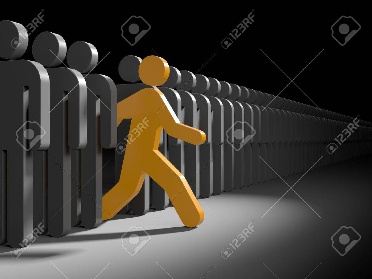 Orange character runs from the crowd of gray characters. Symbolizes leadership and originality Stock Photo - 40394118