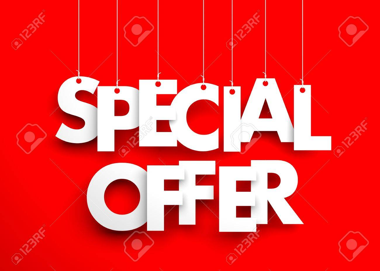 Special Offer Text Hanging On The Strings 3d Illustration Stock Photo Picture And Royalty Free Image Image 65005794