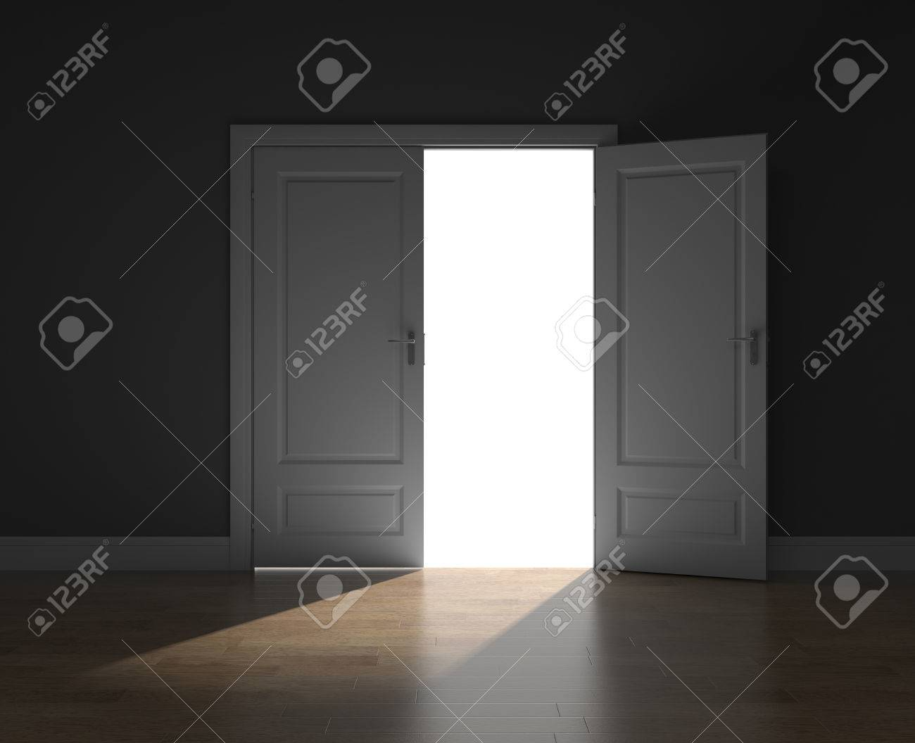 Stock Photo - The door ajar and ray of light on the floor & The Door Ajar And Ray Of Light On The Floor Stock Photo Picture And ...