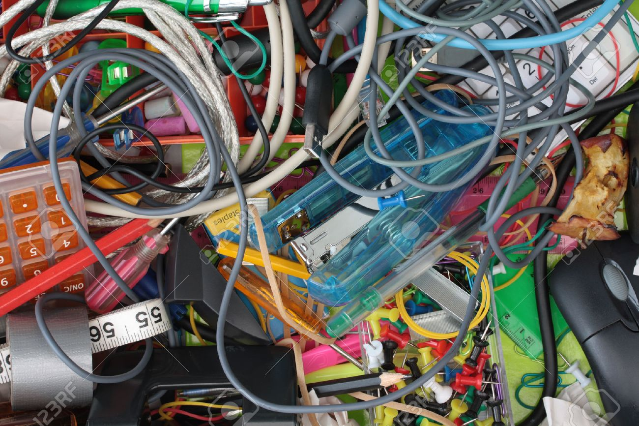 Messy Wires Stock Photos Royalty Free Images Network Wiring Elevated View Of The Seedy World Stationery Drawer