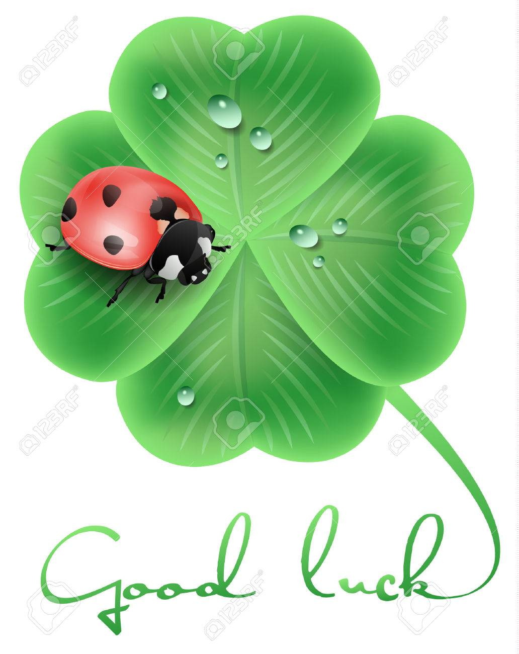 good luck illustration with a ladybug and a clover - 39050577