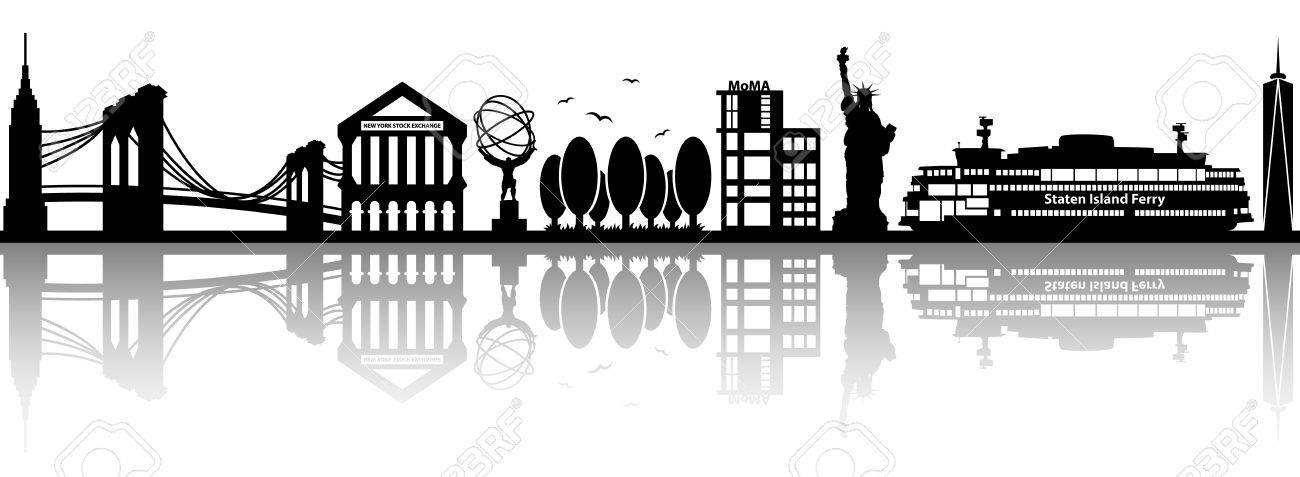 New York Skyline Vector Silhouette Royalty Free Cliparts Vectors