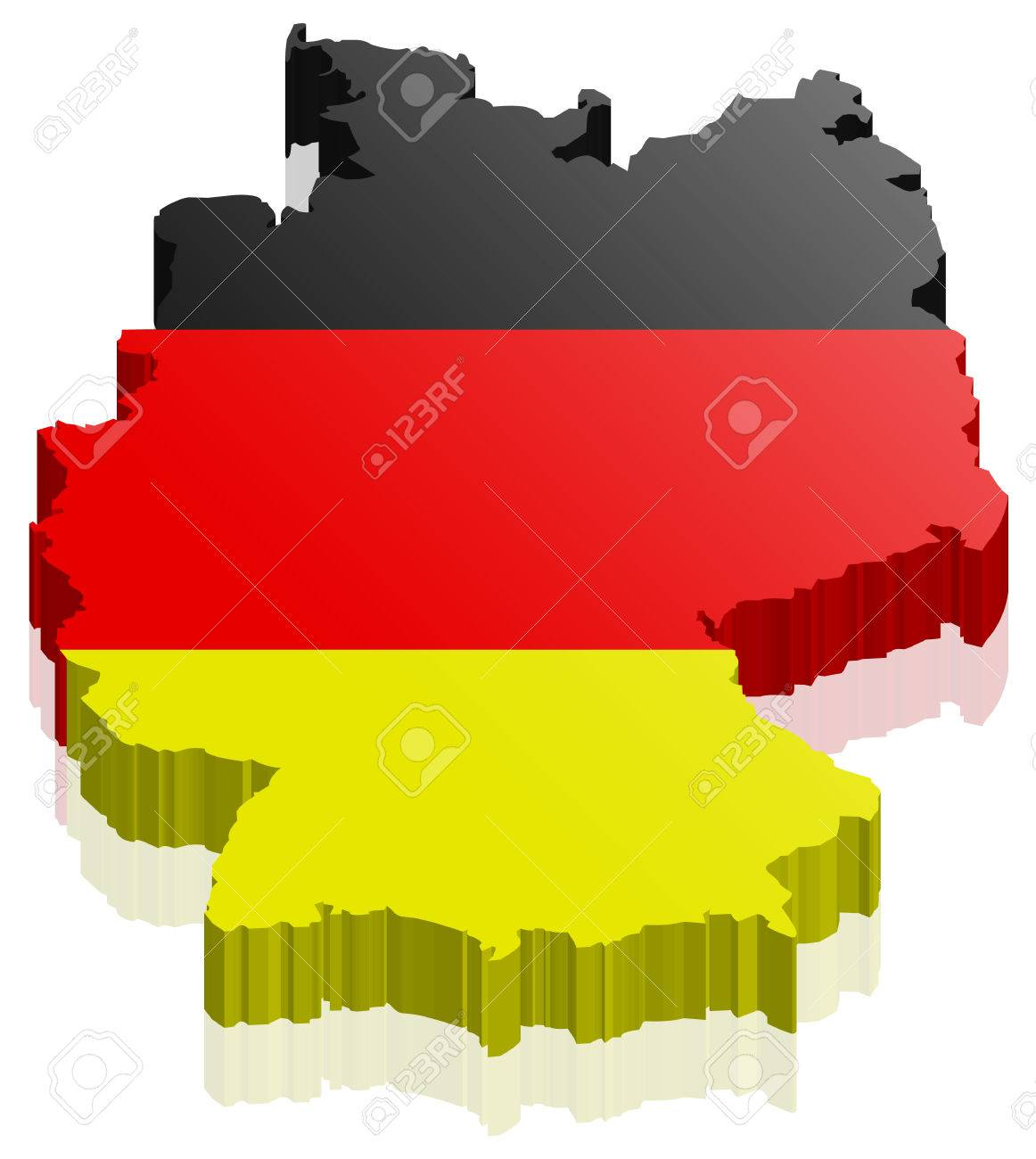germany map 3d with german flag stock vector 58432097