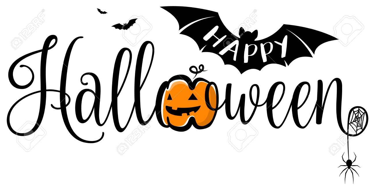 happy halloween text banner. halloween vector logo isolated. royalty