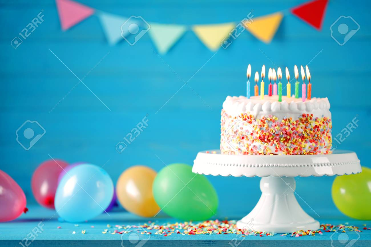 Happy Birthday Cake With Colorful Balloons Decoration Card Stock Photo