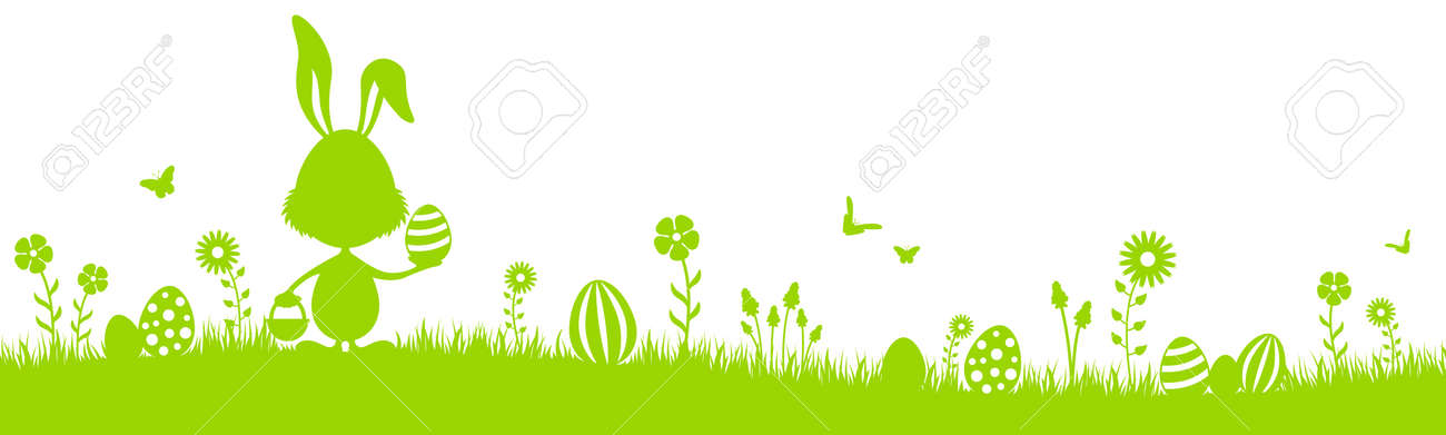 Green easter bunny eggs silhouette with grass and flowers isolated - 156084896