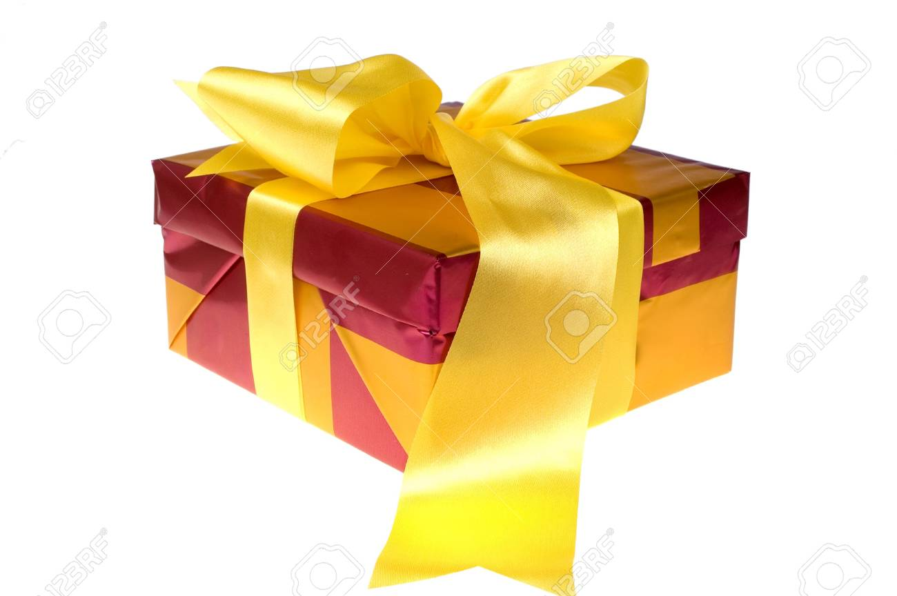 Beautiful xmas presents with yellow bow on white background isolated Stock Photo - 2008861