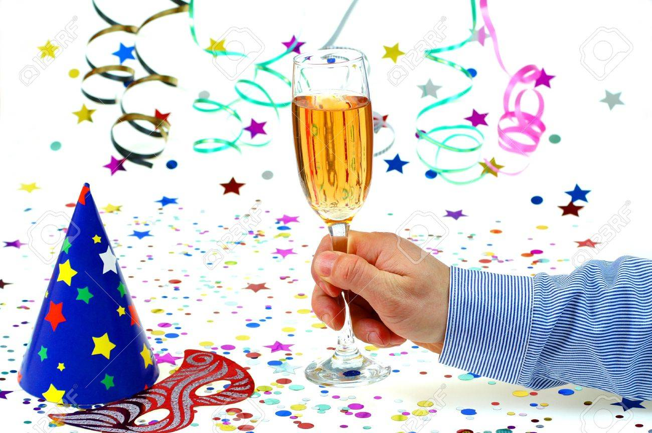 Party time toast cap,mask ,drink and confeti on white background. Stock Photo - 2348930