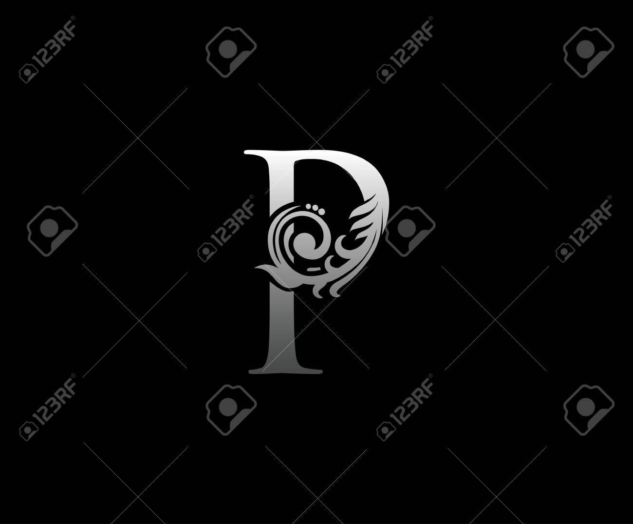 Silver P letter luxury beauty flourishes monogram logo - 143041075