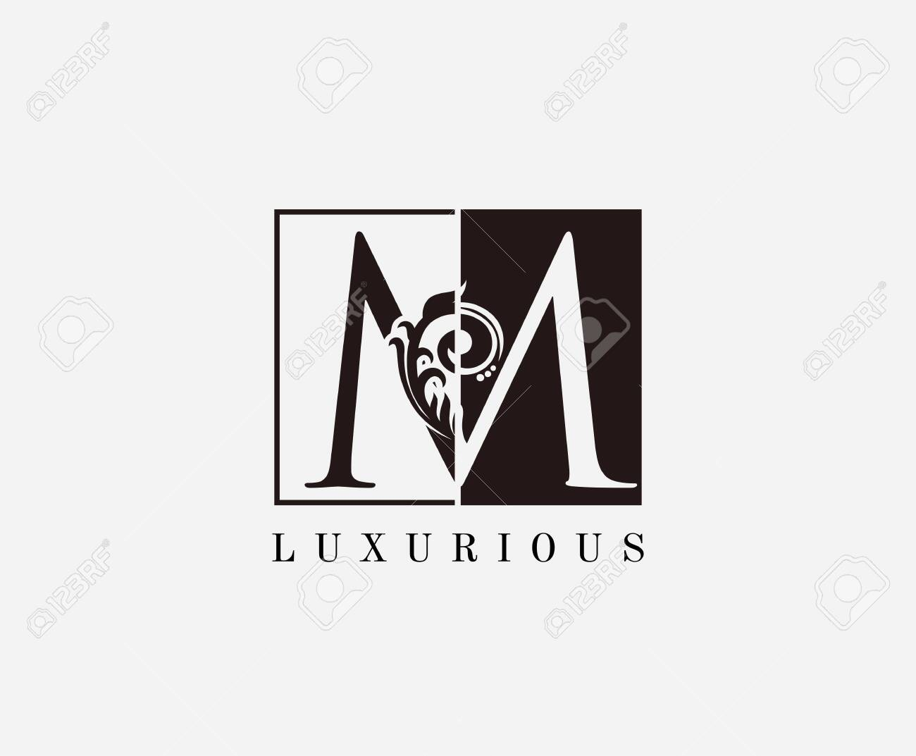 Vintage M Letter Classic Logo Black And White M With Classy Royalty Free Cliparts Vectors And Stock Illustration Image 143666901