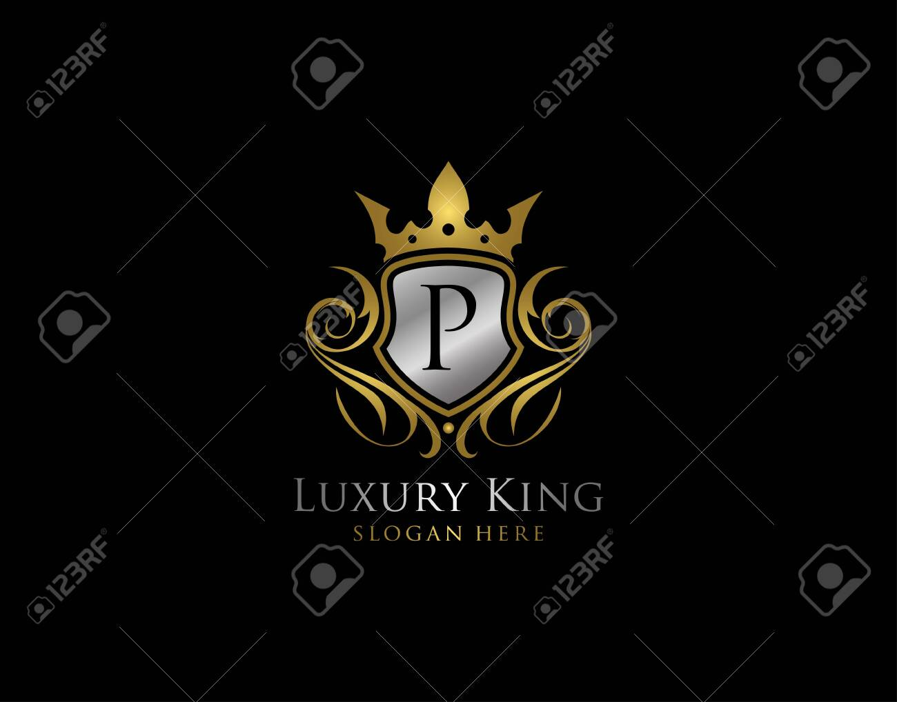 Luxury Shield P Letter Gold Logo, Golden P Classic Protection Symbol - 144467521