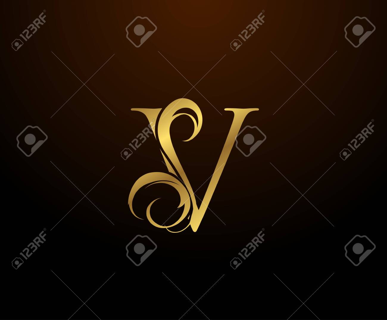 Graceful Initial V Gold Letter logo. Vintage drawn emblem for book design, weeding card, brand name, business card, Restaurant, Boutique, Hotel. - 144467545