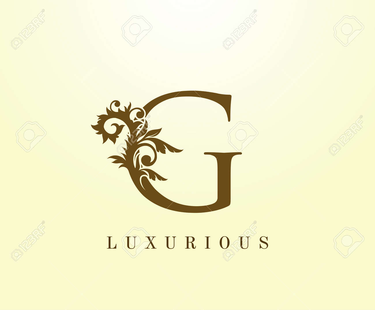 G Letter Classic logo. Vintage Brown letter stamp for book design, weeding card, label, business card, Restaurant, Boutique, Hotel. - 148604365