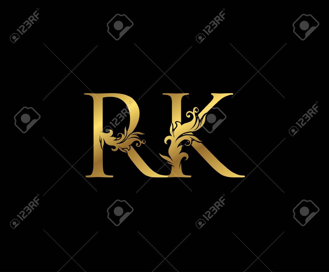 Vintage Gold R, K and RK Letter Floral logo. Classy drawn emblem for book design, weeding card, brand name, business card, Restaurant, Boutique, Hotel. - 153285502