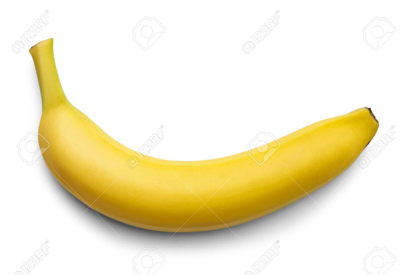 ec6f5080e52e7 Single Yellow Bannana Isolated on White Background. Stock Photo - 38377669